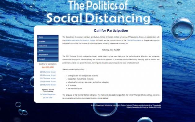 "SUMMER SCHOOL 2021 INVITATION – ""The Politics of Social Distancing"""